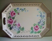 Vintage Tole Tray Pilgrim Art Hand Decorated - Pink Floral - Cottage Shabby Chic Decor