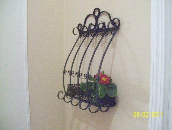 Vintage French Chic Wrought Iron Wall Planter By