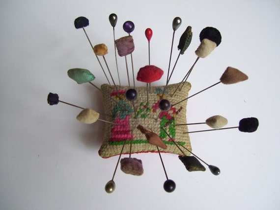 Vintage Hatpin Collection And Pin Cushion