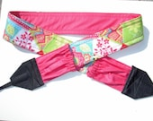 Summer Patch Work camera strap, reversible, 2 expandable pockets with stretchable elastic.