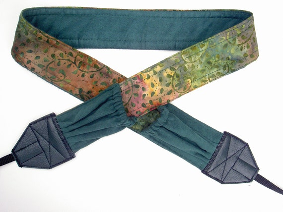 """NEW """" Sherwood Forest"""" ,  green suede back and pockets , soft cotton camera strap, reversible, 2 expandable pockets with  elastic"""