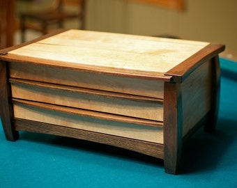 Wooden Maple and Walnut Jewelry Box