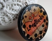 Painted Wooden Necklace-Parrots in Love