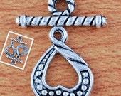 4 toggle sets ...  tibetan silver,  Heart Shape, Twist Rope Toggle Clasps