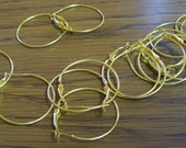 2 pair of Gold-plated hoop earring earwire, 30mm .... 4 pieces gold metal earwire hoops  .... destash sale