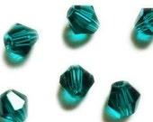 item BG22 ... 4mm Bicone Crystals beads ...   Blue Green bicone beads