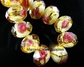 Faceted Lampwork Glass Flower Bead 12x8mm Yellow .....  you will receive 3  .... item #BRBL3