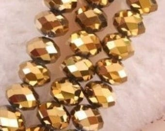 20 Golden Crystal Faceted Abacus Loose Beads ..  Rondell Crystals 6mm  ...  sparkley