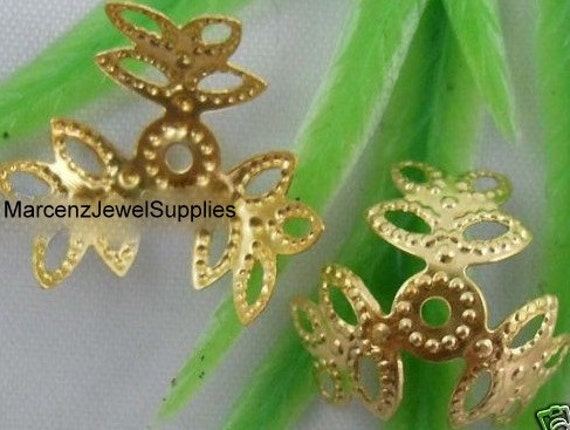 12... 15mm Gold Plated 3-leaf Nice Flower Bead Caps
