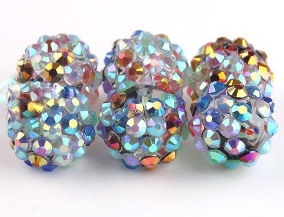 5 Colorful Acrylic Disco Ball Beads with Rhinestones covered look.. Bumpy Round Spacer Beads 14mm