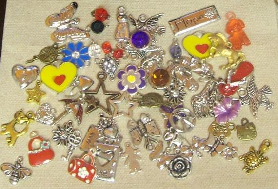 25 Charms ... Mystery Surprise ... 25 Charms, Small Pendants and links ... Destash sale