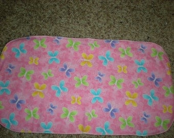 Pink Burp Cloth with Multicolored Butterflies