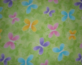 Green XL Receiving Blanket with Multicolored Butterflies