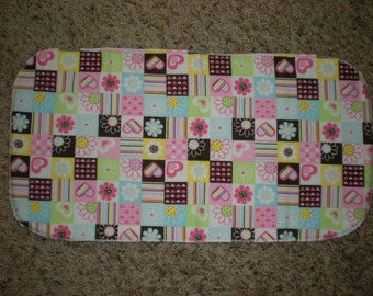 Baby Girl Flower and Heart Burp Cloth