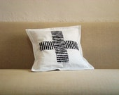 SALE Black Cross on White Decorative pillow cover/ patchwork quilted pillow cover