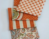 Set of 4 Orange and turquoise Quilted Coasters - candle mat -