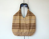 Handmade Large Tote bag in Brown stripes / beach bag/ travel bag/ diapers bag/ shopping bag / gift for her under 50