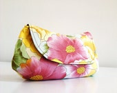 Floral Large Clutch / perfect for weddings /  brides maid gift / Great as a Bridal Shower