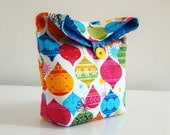 Handmade Pouch Colorful Christmas ornaments /  lunch bag / fabric gift bag / party favor / festive clutch