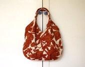 Rust Flowers Vintage Linen Large Tote bag / beach bag/ travel bag/ diapers bag/ autumn purse