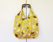 ONLY ONE Large Tote bag Brown Leaves on Mustard / beach travel bag/ diapers bag/ shopping bag / under 50 gift