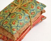 Set Of 3 Fabric Tissue Holders Floral and Paisleys on Green, Red and Brown/ tissue cozy/ party favors / Great as Bridal or Baby Shower