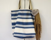 Handmade Large Tote bag in Blue stripes / beach bag/ travel bag/ diapers bag/ shopping bag / mothers day gift