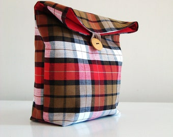 Handmade Plaid Pouch in Red, brown, white and black  / lunch bag / cosmetic or travel case
