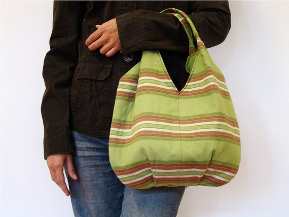 Stripes on green Tote Bag