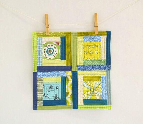 Handmade blue and green Mini quilt - mug rug - mat - Large Coaster- Candle Mat - Wall Art - scrappy log cabin - hostess gift