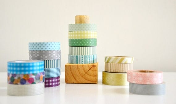 Washi Tape Organizer - Wood Masking Tape Holder - Eco friendly Wood Japanese Tape Dispenser for 5 rolls - coworkers gift