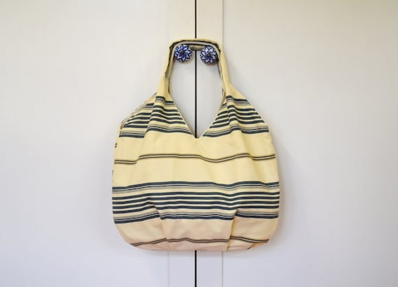 ONLY ONE Large Tote bag Blue stripes on cream / beach bag/ travel bag/ diapers bag/ shopping bag / nautical bag