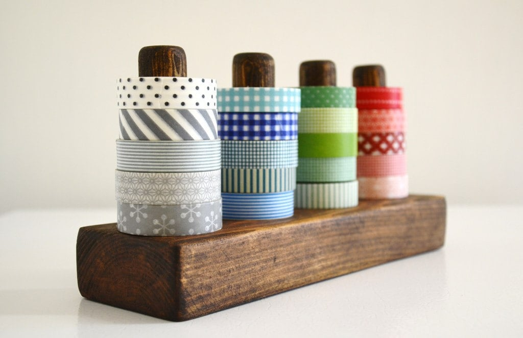 dark washi tape organizer wood masking tape holder by 464handmade. Black Bedroom Furniture Sets. Home Design Ideas