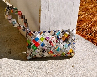 Newspaper Clutch Purse, Recycled Paper Clutch Purse, Ecofriendly Clutch Purse