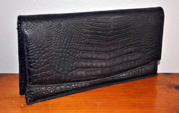 Vintage Black Leather Reptile Fold-Over Cluch