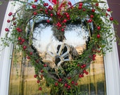 "Grapevine Heart Door Wreath Decor..""Berry Kisses"""