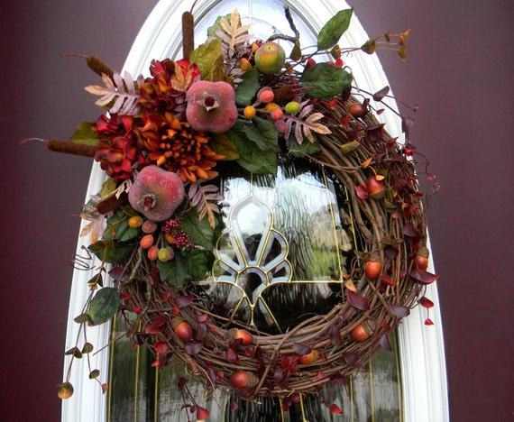 "Fall Wreath Door Decor Grapevine..""Nature's Abundance""..FREE SHIPPING"