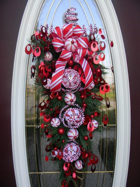 "Christmas Vertical Teardrop Holiday Door Swag..""Peppermint Swirls"""