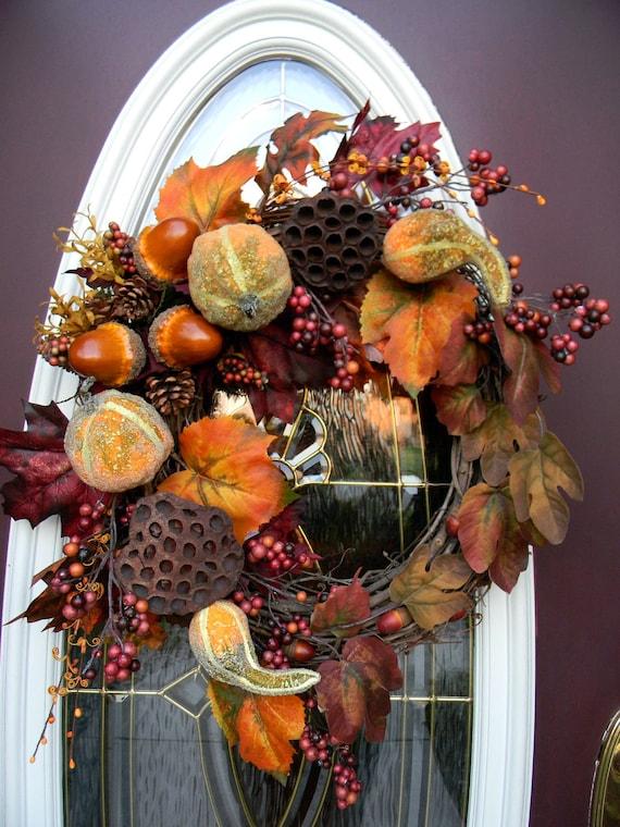 "Fall Wreath Thanksgiving Autumn Grapevine Wreath Door Decor..""Fall Fantasy"""