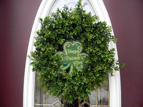 "St Patricks Day Wreath Grapevine Boxwood Door Wreath.. ""Like Magic""  Two Wreaths In One"