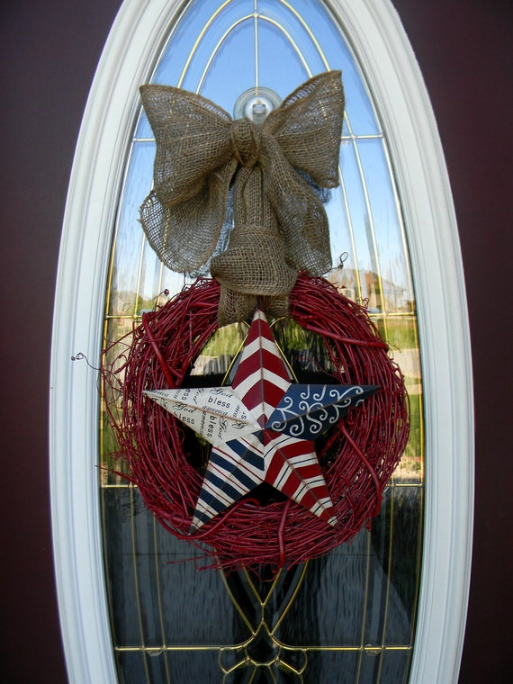 "Patriotic Memorial Day Fourth of July...Door Wreath Decor..""America"""