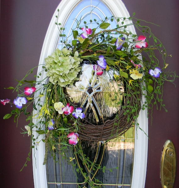 "Spring Wreath Summer Wreath Grapevine Door Wreath Decor..""Nature's Beauty"""