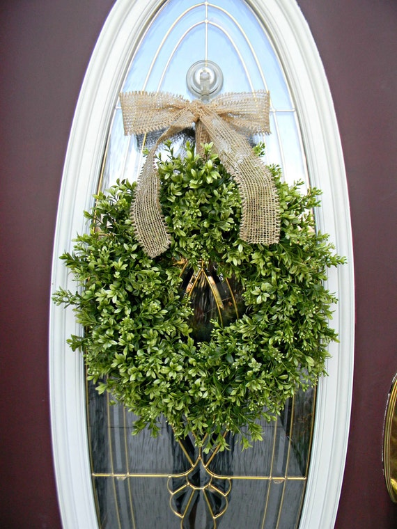 Spring Wreath Summer Wreath Grapevine Door Wreath Boxwood Burlap