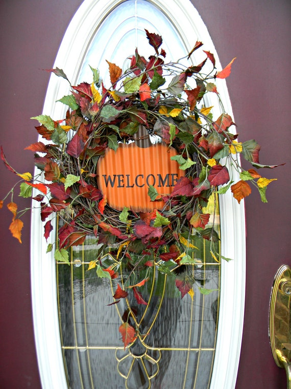 "Fall Autumn Grapevine Door Wreath Decor..""Welcome"" OOAK Ready to Ship"