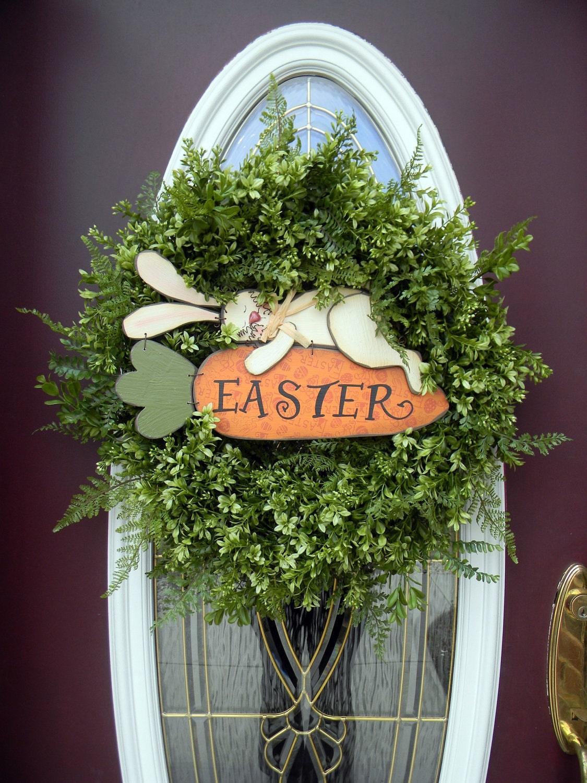 Easter grapevine spring door wreath decor bunny for Decor exterieur
