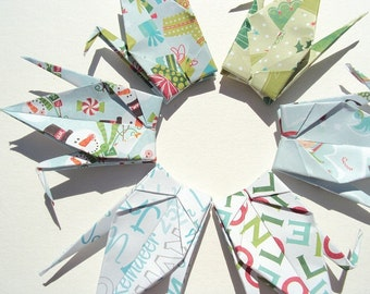 Sale 6 Large Holiday Spirit Origami Cranes