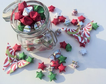 SALE 100 Plaid Holly Jolly Christmas Origami Stars