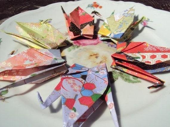 6 Large Himeyu Chiyogami Origami Cranes