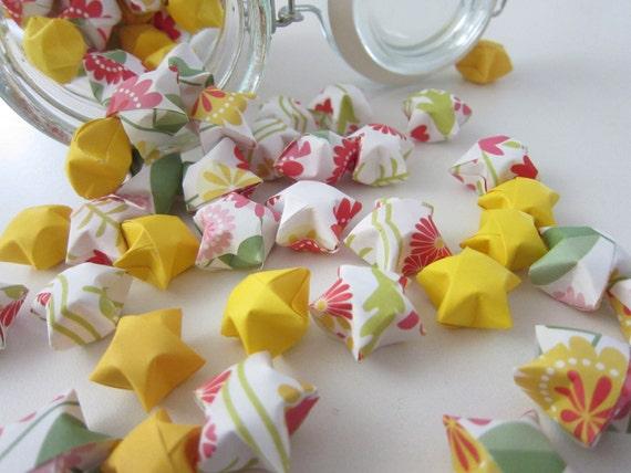 LAST SET 100 Floral Raspberry Lemonade Origami Stars