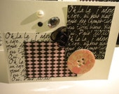 ON SALE Set of 2 Oh-la-la Note Glamorous Girlie Cards - black, white, pink - rhinestones and pearls